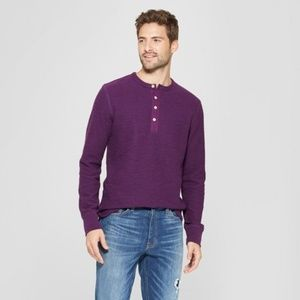 Other - Men's Standard Fit Long Sleeve Textured Henley Shi